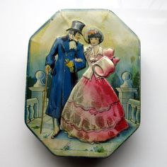 Vintage Horner Candy Tin Victorian Man and Woman England