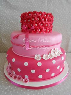 Girly girl cake in shades of pink and white. I love each layer. It is so adorably cute with the flowers and dots!