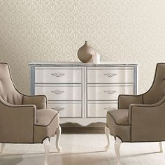 Alouette Mod Swirl Wallpaper in Taupe design by Brewster Home Fashions