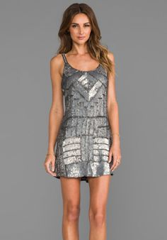 Parker Embellished Hayden Combo Dress in Gunmetal from REVOLVEclothing.com