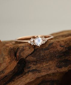 Moonstone engagement ring vintage rose gold engagement ring Diamond cluster ring Unique Simple dainty wedding ring Bridal Anniversary gift – Famous Last Words Wedding Rings Simple, Wedding Rings Rose Gold, Diamond Wedding Bands, Unique Rings, Diamond Rings, Gold Wedding, Simple Weddings, Trendy Wedding, Budget Wedding Rings