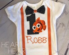 Finding nemo birthday shirt, Birthday boy, Birthday Girl, Finding Nemo Suspenders and bow tie, First birthday, Birthday outfit set
