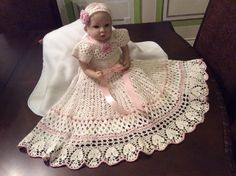 crochet yoked interchangeable flower christening gown pattern, blessing pattern, baptism gown pattern, baby dress pattern, infant gown