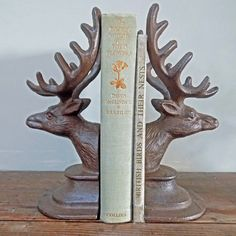Pair stags head bookends