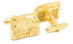 New Gold-Plated Retro Boombox Cufflinks Cuff Links Mens Fashion Jewelry Style #Unbranded