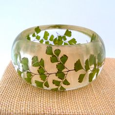 Fern Resin Bangle. Green Bangle Bracelet. Pressed Flower Bangle - Maidenhair Fern. Real Flowers. Handmade Resin Jewelry