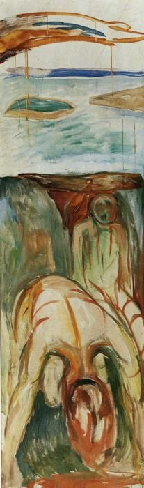 Edvard Munch. Fragment of War (The Storm). 1919-27. Oil on canvas. 205 x 61 cm. Munch Museum, Oslo, Norway.  Olgas Gallery.