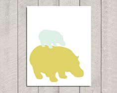 This is for you @Leslie Lippa...Hippo Nursery Art Print 8x10 by DeliveredByDanielle on Etsy, $15.00
