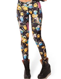Womens Cartoon Leggings Adventure Time Character Print Tight Pants