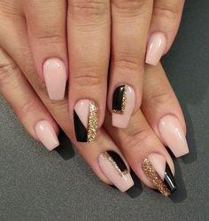 Geometric glitter nail art