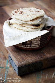 Coconut roti: flour, shredded coconut, vegetable oil, & water