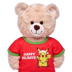 Celebrate the holidays with this T-shirt for stuffed animals featuring Pikachu wearing a Santa hat and a string of lights. Shop gifts for Pokémon fans at Build-A-Bear! Pokemon T, Pikachu, Valentines Day Teddy Bear, Build A Bear, Shopping Sites, Santa Hat, Happy Holidays, Great Gifts, Plush