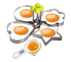 A set of molds for making ~shapely~ eggs.