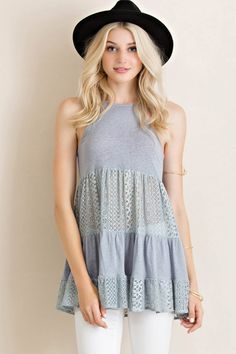 Halter Neck Tiered Lace Paneling Tunic