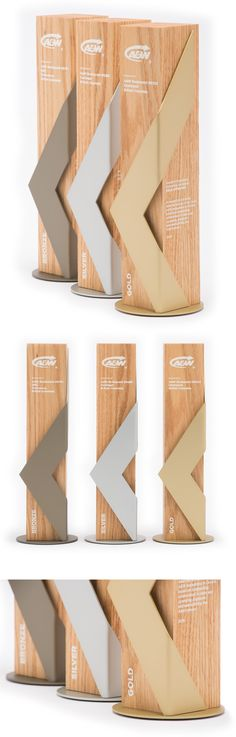 Our unique awards for A&W restaurants. Custom designed and handcrafted, these awards are used for awarding gold, silver and bronze categories. Created using solid Red Oak hardwood and anodized aluminum.