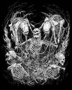 Hymns of Disembowelment Mark Riddick Dark Fantasy Art, Dark Artwork, Metal Artwork, Arte Horror, Horror Art, Art Sombre, Imagenes Dark, Dibujos Dark, Art Noir