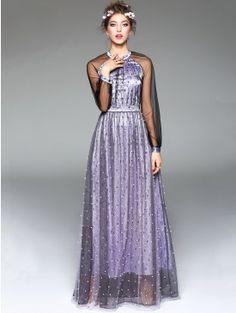 Elegant Purple Beading Raglan See Through Sleeve Stand Collar Party Dress