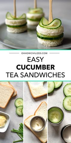 Dainty and easy-to-make cucumber sandwiches with chive butter. Get step-by-step directions on how to make this simple, elegant, and delicious savory. Tea Party Sandwiches Recipes, Cucumber Tea Sandwiches, Afternoon Tea Recipes, Afternoon Snacks, Birthday Party Snacks, Party Dishes, London Food, Appetizer Recipes, Appetizers