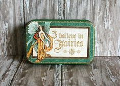 Altered Altoids® Tin, Table or Desk Top, Romance/Anniversary Mini Scrapbook/Memory Album, Graphic Enchanted Forest, Gallant Knight Memory Album, Altered Tins, Wedding Shower Gifts, Altoids Tins, Green Butterfly, Nature Table, Gold Background, Mini Scrapbook Albums, Graphic 45