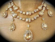 Champagne Cushion Cut Bridal Statement Necklace
