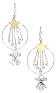 Earrings with Plated Metal Drops and Celestial Crystal® Beads by Rose Wingenbach.