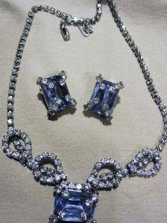 Vintage Kramer of New York  Ice Blu/Clear Rhinestone Wonderful Bride Jewelry set #KramerofNewYork