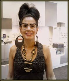 Stunning!  Our neighbour Maria from Eclectic Antique Centre next door completing her outfit with the l.a.Eyeworks Gigantor.