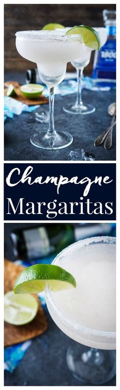 These Frozen Champagne Margaritas are a fun blend of silver tequila, bubbly…