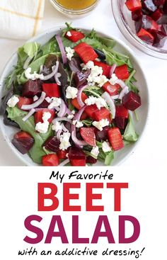This Beet Salad tastes AMAZING! You can shake together the apple cider dressing while the beets cook, and this can be made-ahead of time for an easy packed Roasted Beet Salad, Beet Salad Recipes, Salad Dressing Recipes, Recipes For Beets, Roasted Beets Recipe, Easy Packed Lunch, Beet And Goat Cheese, Goat Cheese Recipes, Raw Beets