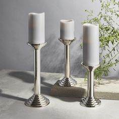 Lights.com | Holiday | Candle Holders | Delano Silver Pillar Candle Holder, Large