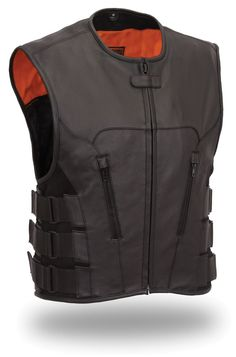 Mens Updated SWAT Team Style Leather Motorcycle Vest by First Mfg.  www.mymotorcycleclothing.com
