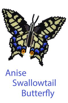"""Butterfly pattern for an Anise Swallowtail with a flat back and raised body.  From the book """"More 3-D Butterflies in Peyote Stitch"""" by Sheila Root"""
