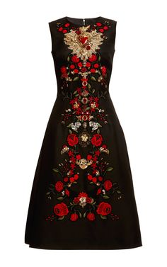 Sleeveless Gazar Embellished A-Line Dress by Dolce & Gabbana for Preorder on Moda Operandi
