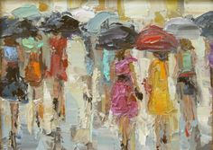 """Umbrella Ladies"" by Kathryn Trotter, oil on canvas, 06"" x 08""."