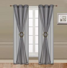 Curtain Set 6 Piece Grey Grommet Faux Silk With Grommet Sheer And Hold Back clip - - Homemade Curtains. Custom Drapes, Home, Cheap Window Treatments, Curtains, Curtain Decor, Window Design, Home Curtains, Curtain Designs, Window Treatments Bedroom
