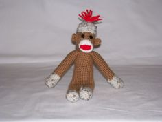 crocheted sock monkey #amigurumi #crochet