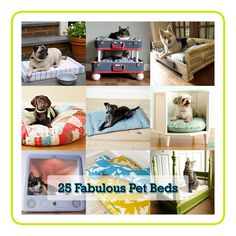 """""""25 Fabulous Pet Beds"""", a compilation of many sites DIY's all on http://www.thecottagemarket.com/2012/06/25-fabulous-diy-pet-bed-ideas.html"""