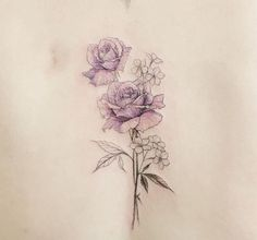 Colour delicate flower tattoo More