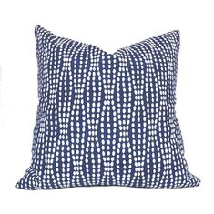 Navy Blue White Abstract Pearl Strands Pillow Cover - Fits 14x20 insert (13.5x19 cover)
