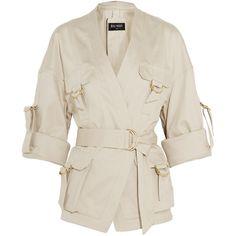 Balmain Belted cotton-blend gabardine jacket ($1,325) ❤ liked on Polyvore featuring outerwear, jackets, balmain, tops, neutrals, beige jacket, belted jacket, white jacket and gabardine jacket