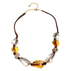 Alexa Starr Goldtone and Cord Faceted Glass Bead Necklace