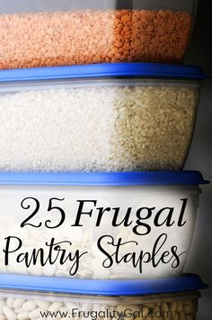 25 Kitchen and Pantry Staples to always have on hand. By keeping these frugal foods on hand, you'll be able to make a variety of frugal meals and always have an inexpensive base of ingredients to use when creating your meal plan! Frugal Tips, Frugal Meals, Cheap Meals, Budget Meals, Freezer Meals, Inexpensive Meals, Cheap Recipes, Frugal Recipes, Cheap Food