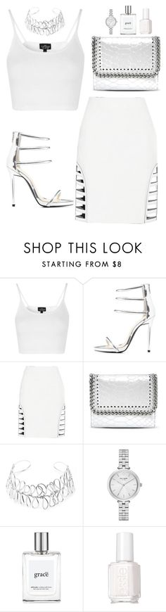 """""""Untitled #344"""" by hayleyl22 ❤ liked on Polyvore featuring Topshop, Qupid, Fendi, STELLA McCARTNEY, Beaufille, Kate Spade, philosophy and Essie"""