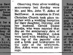 25th Wedding Anniversary of John P and Eva Alden; Wedding Reception for  Dorothy and Gerald Hardin