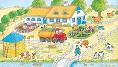 TOUCH this image to discover its story. Image tagging powered by ThingLink English Creative Writing, Farm Paintings, Picture Boards, Farm Theme, Language Development, Happy Colors, Toddler Preschool, In Kindergarten, Speech Therapy