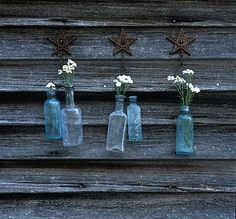 Old Bottles and Rusty Stars on Barnwood...awe...sigh