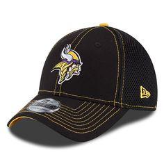 Men s Minnesota Vikings New Era Black Crux Line Neo 39THIRTY Hat Nfl Gear 17b43ac20e036