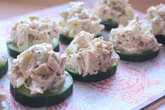 Chicken Salad on Cucumber Rounds   Recipe makes approximately 30 rounds 4 rounds is 3 carbs