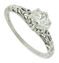 Antique Style 14K White Gold Diamond Engagement Ring. Repinned by one of WorthPoint's favorite pinners!