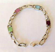 Silver Cable Chain Bracelet Sterling by KarynJamieDesigns on Etsy Pink Topaz, Purple Amethyst, Etsy Handmade, Handmade Jewelry, Green Peridot, Stone Bracelet, Flourish, Cable, Gemstones